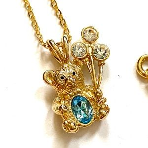 Teddy bear gold blue stone necklace vintage